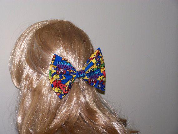 Large Cartoon Fabric Hair Bow Large Superhero by HairBowAplenty