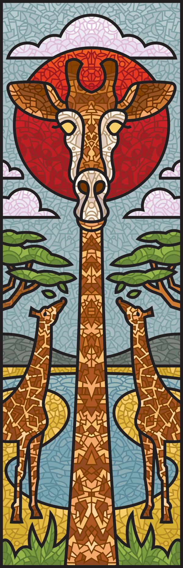Stained Glass Animals by Barney Ibbotson, via Behance