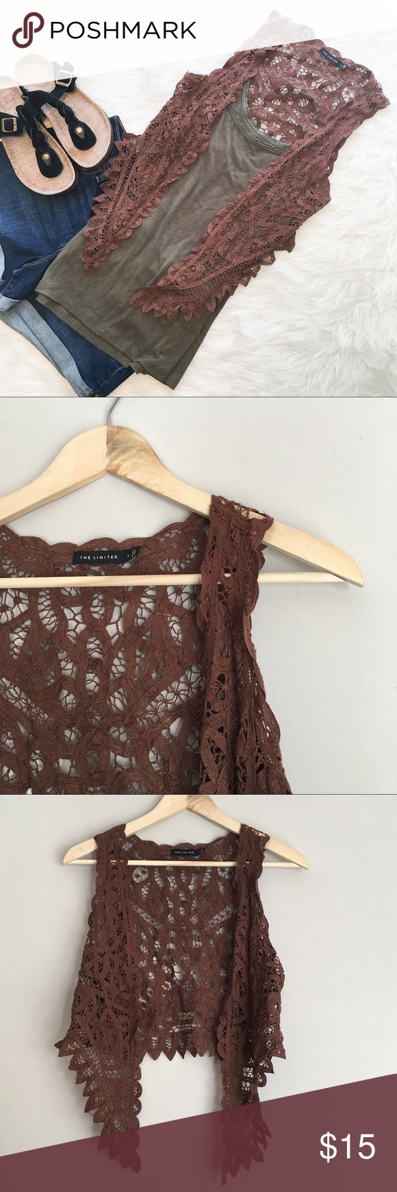 Express Brown Lace Vest Express brown Lace vest. Size small. Approximate measurements are 16' back length, 23' front length, and 15' bust with vest closed. Has a snag in the lace on shoulder. Because it's a larger lace it's not very visible. Please see pictures above. This is perfect for music festivals! ❌No trades ❌ Modeling ❌No PayPal or off Posh transactions ❤️ I Bundles ❤️Reasonable Offers PLEASE ❤️ Bundle & SAVE❗️❗️ Express Jackets & Coats Vests