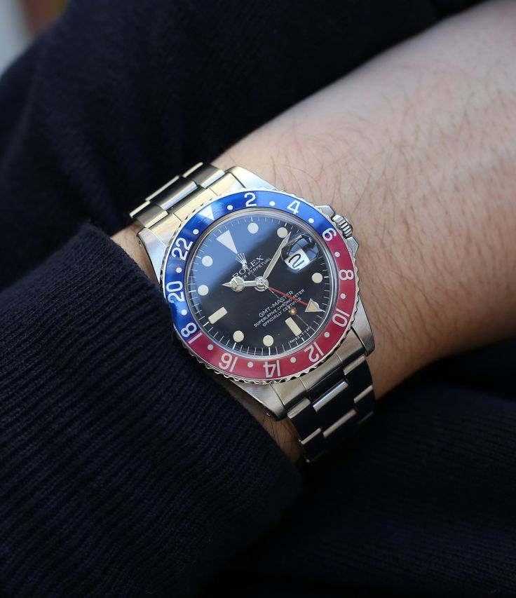 vintage Rolex GMT master 1675 steel wristwatch with Pepsi bezel at A Collected Man London