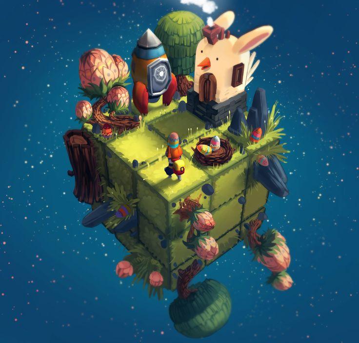 Cubiverse - Easter Cube, Simone Mändl on ArtStation at https://www.artstation.com/artwork/6RwR0