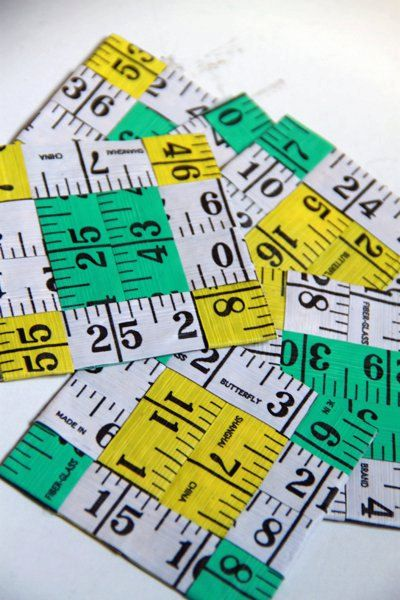 Measuring Tape Coasters by justthingsz on Etsy, $7.99