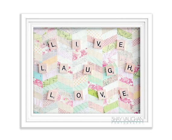 Shabby Cottage Chic Nest Prints Home Decor Wall Art ~ Live laugh love scrabble letters photograph shabby chic