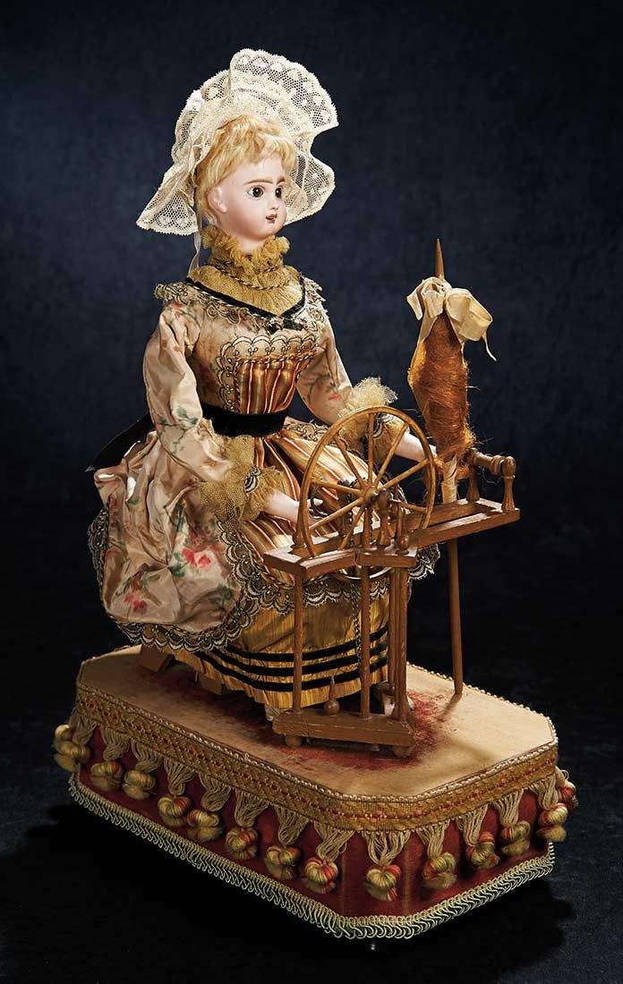 """French Bisque Musical Automaton """"Lady at the Spinning Wheel"""" by Roullet & Decamps. http://Theriaults.com"""