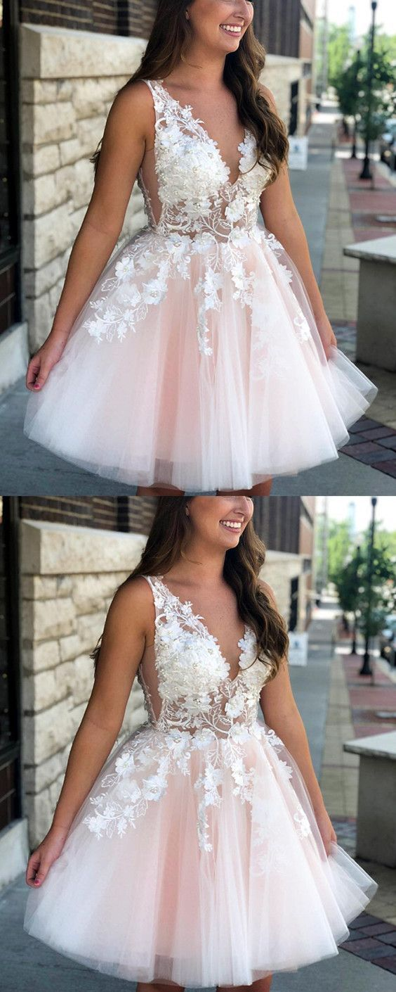 Pretty lace flowers beaded tulle homecoming dresses short prom