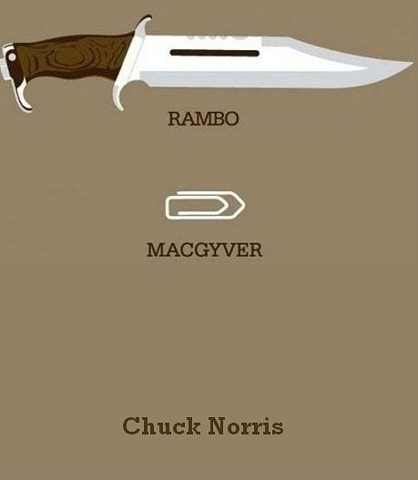 Funny, but I grew up watching Rambo, so he has my vote. Chuck Norris will just have to be mad. :D