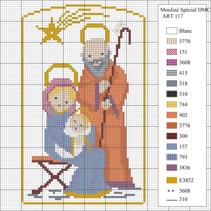 La Navidad se acerca y os regalamos este diagrama de punto de cruz para bordar un belén para estas fiestas. Podéis bordarlo sobre tela Ai...