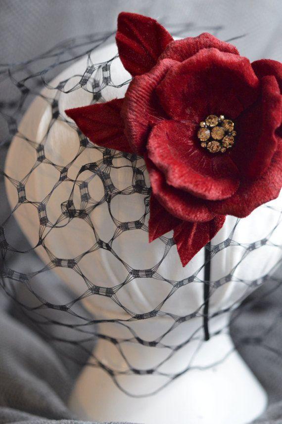 Black Birdcage Veil - Hairband - Hair Fascinator - Hair Flowers - Old Hollywood Hair Accessories - Vintage Glamour - Pin Up Flowers