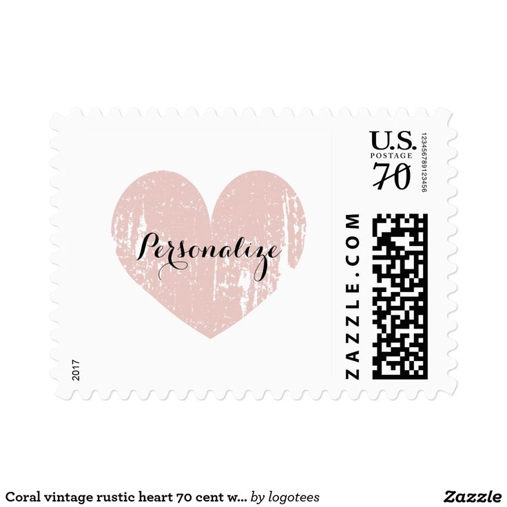 Coral vintage rustic heart 70 cent wedding stamps Custom 70 cent wedding stamps with vintage heart. Coral pink and white weathered love heart symbol postage stamps. Cute faded design for elegant wedding party, chic bridal shower, classy engagement, lovely anniversary etc. Perfect for romantic summer beach theme or rustic country chic garden style marriage. Blank template print, personalize with rsvp, save the date, thank you message, name or monogram of bride and groom. Also available in…