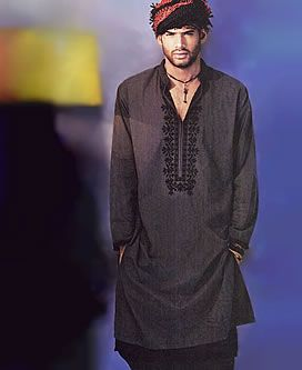 Gray Cotton Men's Kurta (Tunic)   in Polyester Cotton Blend with embroidery work on front and sleeves, black cotton Shalwar bottom $136