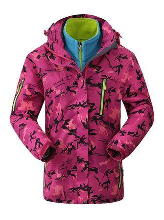 Plus Size Women Camouflage Waterproof Windproof Hooded Jacket