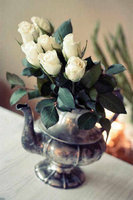 White flowers, silver vase. #flowers  http://skiglari-norppa.blogspot.com