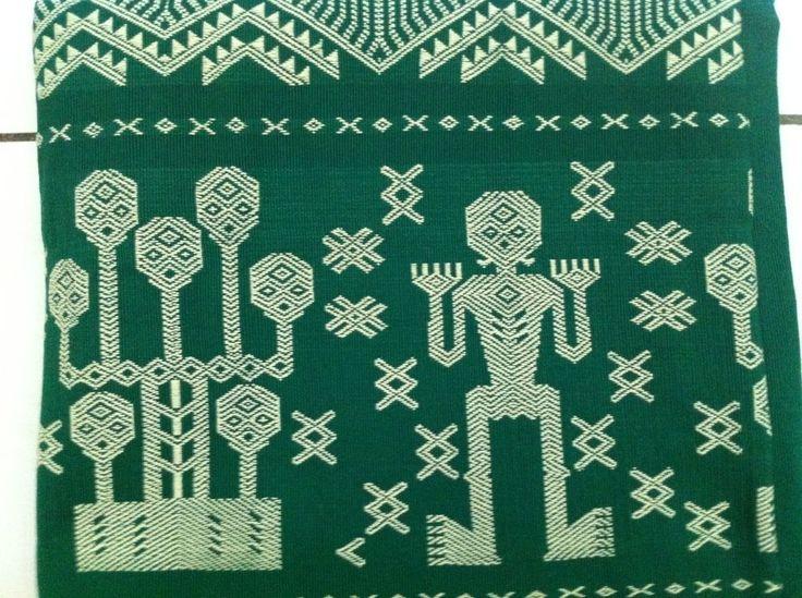 NTT Traditional Ikat Weaving, Hand-woven, Homespun Green Sumba Motif's