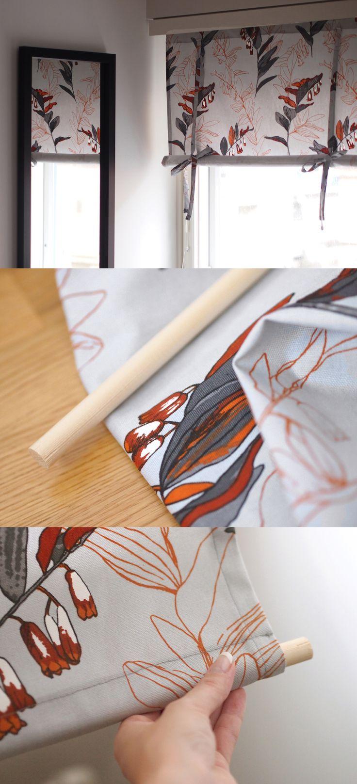 DIY Rullakappa / Roll up curtain // Rullakappa on näyttävä mutta helppo verhoratkaisu ja se onnistuu kätevästi myös itse. Tarvitset sopivan palan kangasta sekä tukipuun, esimerkiksi puuriman rautakaupasta. Ompele verho ikkunan korkuiseksi, tee alareunaan kuja rimalle ja lisää solmintanauhat yläreunaan. Kuvassa kuosina Kangastuksen oranssi Kalliokielo.