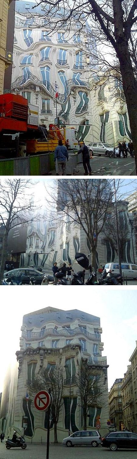 This building mural, a trompe-l'oeil, is located in Georges V Ave. in Paris, France. Trompe-l'oeil is an art technique involving extremely realistic imagery in order to create the optical illusion that the depicted objects really exist, instead of being just two-dimensional paintings.