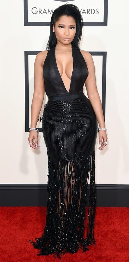 The 57th Annual GRAMMY Awards - Red Carpet.  Nicki Minaj in Tom Ford and Giuseppe Zanotti shoes.