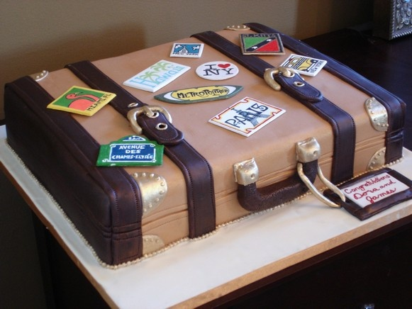 "suitcase cake, love this  we were kind of thinking about this earlier- we could have different ""stickers"" for places I've been and where I'm going."