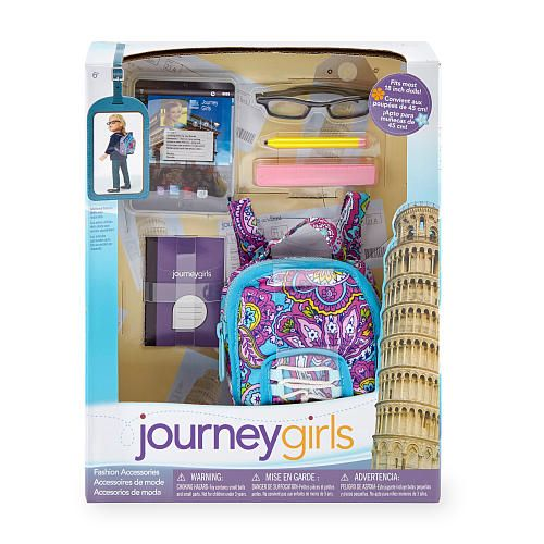"Journey Girls Activity Accessory Set - School - Toys R Us - Toys ""R"" Us  It comes with...  1muti colored backpack 1 purple Journal 1JG sized iPad 1 pink eraser and 1yellow pencil and a black pair of glasses"