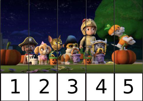 puzle de numeros 1-5 patrulla canina 3
