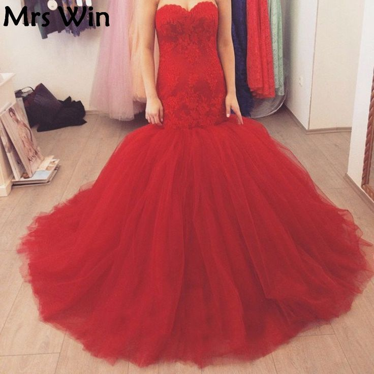 ==> [Free Shipping] Buy Best 2017 Red Lace Mermaid Prom Dress Sweetheart Corset Custom Made Tulle Trumpet Formal vestido de festa dourado Custom Made Online with LOWEST Price | 32796500154