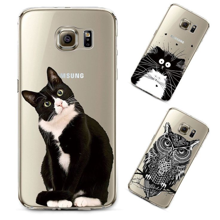 For Samsung Galaxy s4 s5 s6 s6edge s6edge+ note 4 note 5 Cover Soft Silicon Transparent TPU Thin Phone Case Cute Cat Owl Animal