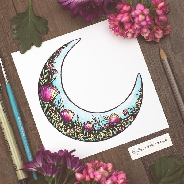 The moon filled with lovely wildflowers ----- Watercolor + Ink Print on 60lb Canvas Paper Signed +  by the Artist Becca Stevens @freedomrise