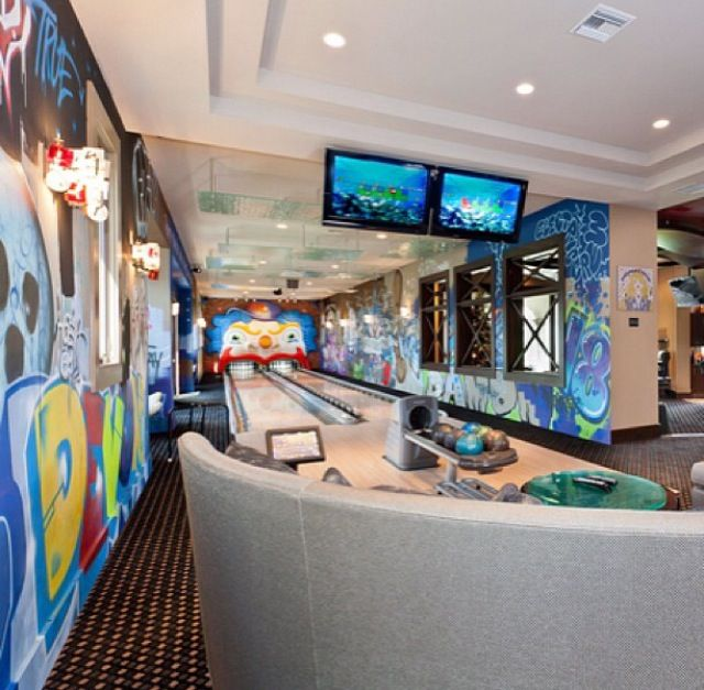 96 best home bowling alley images on pinterest for House plans with bowling alley