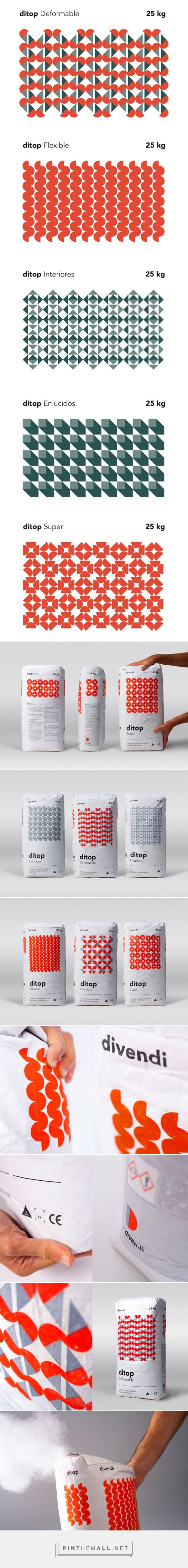 Ditop ‪‎Cement‬ ‪‎Packaging‬ ‪‎Patterns‬ designed by Rubio & del Amo - http://www.packagingoftheworld.com/2015/12/ditop-cement.html