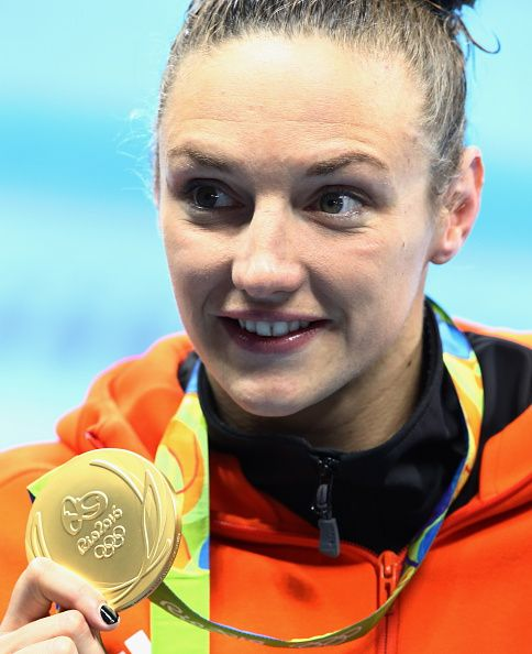 #RIO2016 Gold medalist Hungary's Katinka Hosszu at an award ceremony for the women's 100m backstroke event at the 2016 Summer Olympic Games in Rio de Janeiro...