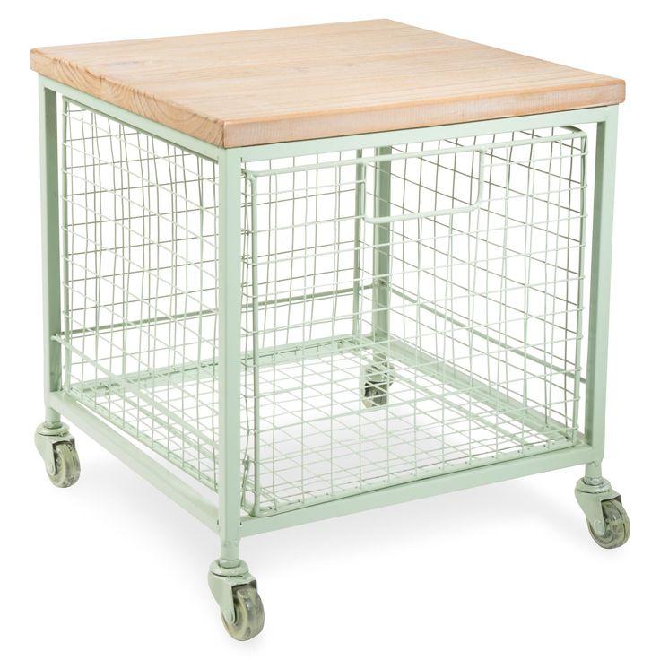 Tavolino da salotto verde a rotelle in metallo L 36 cm GARDEN FACTORY