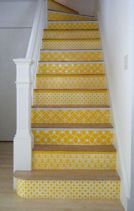 Love this staircase. Painted on with a stencil. I would use a different color. From: http://patternhound.com/1630/morroccan-stencil-staircase