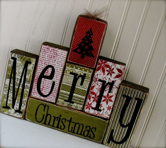 Merry Christmas Wood Blocks Set with Christmas by doubledutydecor