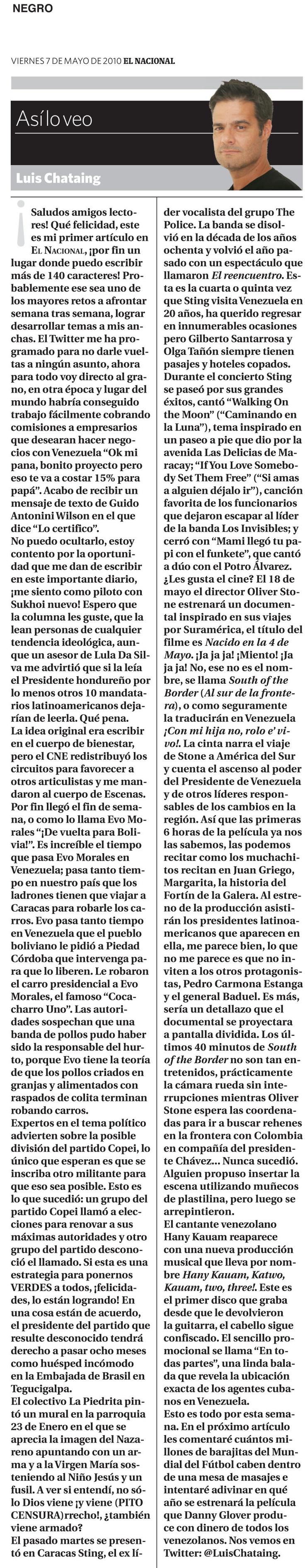 """Primera columna """"Así lo veo"""" de Luis Chataing, en El Nacional. Publicado el 07 de mayo de 2010."""