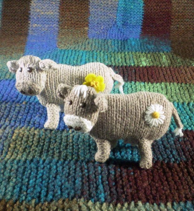 """Free Knitting Pattern for Buttercup and Daisy Cow Toys - About 10 cm / 4"""" tall and are knitted in DK weight yarn. Designed by the amazing Frankie Brown."""