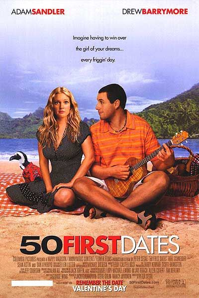 50 First Dates (2004) a film by Peter Segal + MOVIES + Adam Sandler + Drew Barrymore + Rob Schneider + Sean Astin + Lusia Strus + cinema + Comedy + Romance