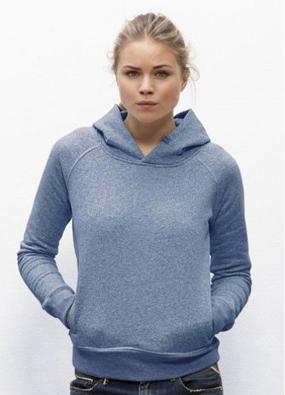 Toasty Girl in Mid Heather Blue. This ladies' winter #hoodie is #fairtrade and made from 85% #organiccotton. Made in Pakistan.
