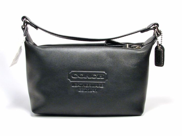 COACH TRAVEL SMOOTH BLACK LEATHERWARE COSMETIC CARRY BAG #Coach #CosmeticBags