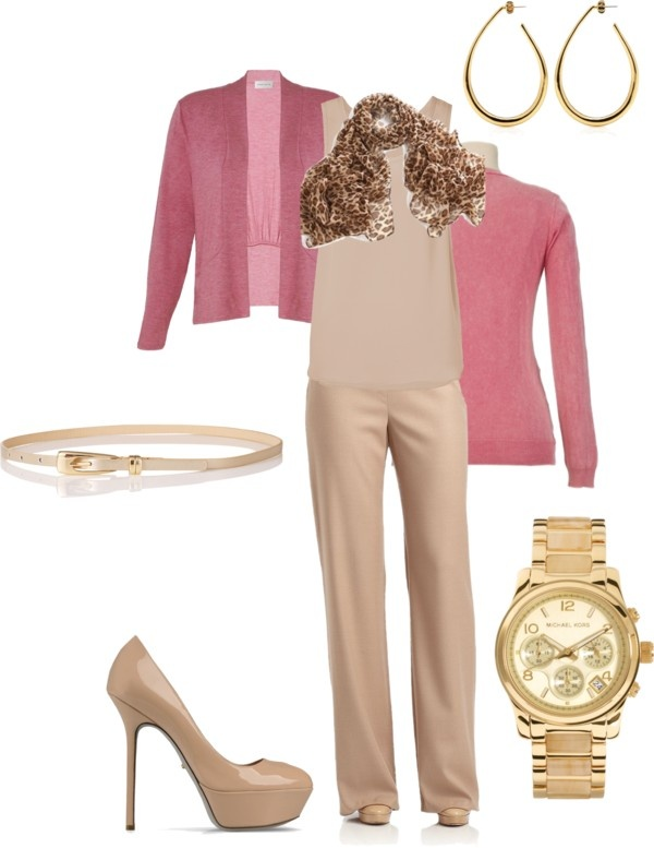 U0026quot;Dusty Pink Beige and Gold Work Outfitu0026quot; by jen-thoden on ...