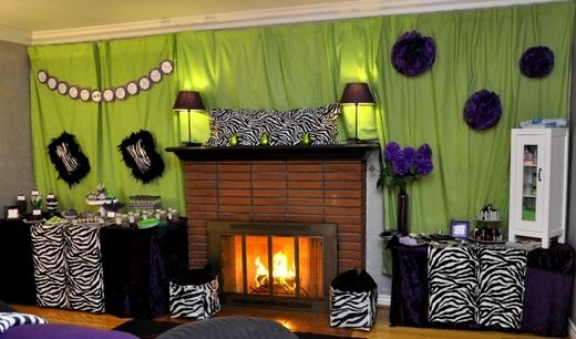 adult pajama party zebra themed room decor