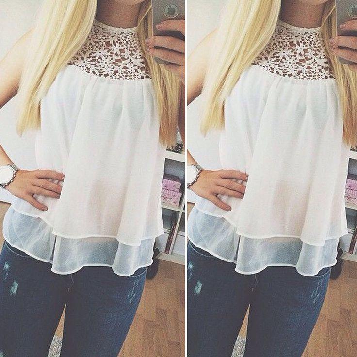 Zoek meer Blouses & Shirts Informatie over vrouwen mode casual 2015 pure mouwloze chiffon shirt dames gehaakte kant tops witte blouse blusas, Hoge Kwaliteit Blouses & Shirts van Blues supermarket op Aliexpress.com