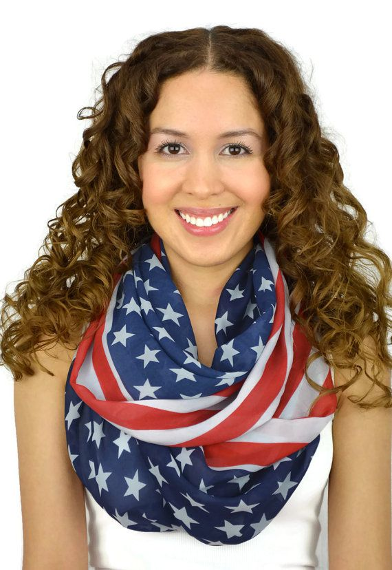 American Flag Infinity Scarf USA Scarf American Flag by JuicyBows, $19.99 4th of july summer spring outfit fashion ideas and looks