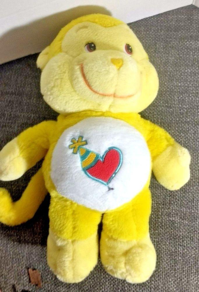 Care Bear Cousins Playful Heart Monkey Stuffed Animal 13 Inch Plush Yellow 2004 #CareBears #AllOccasion