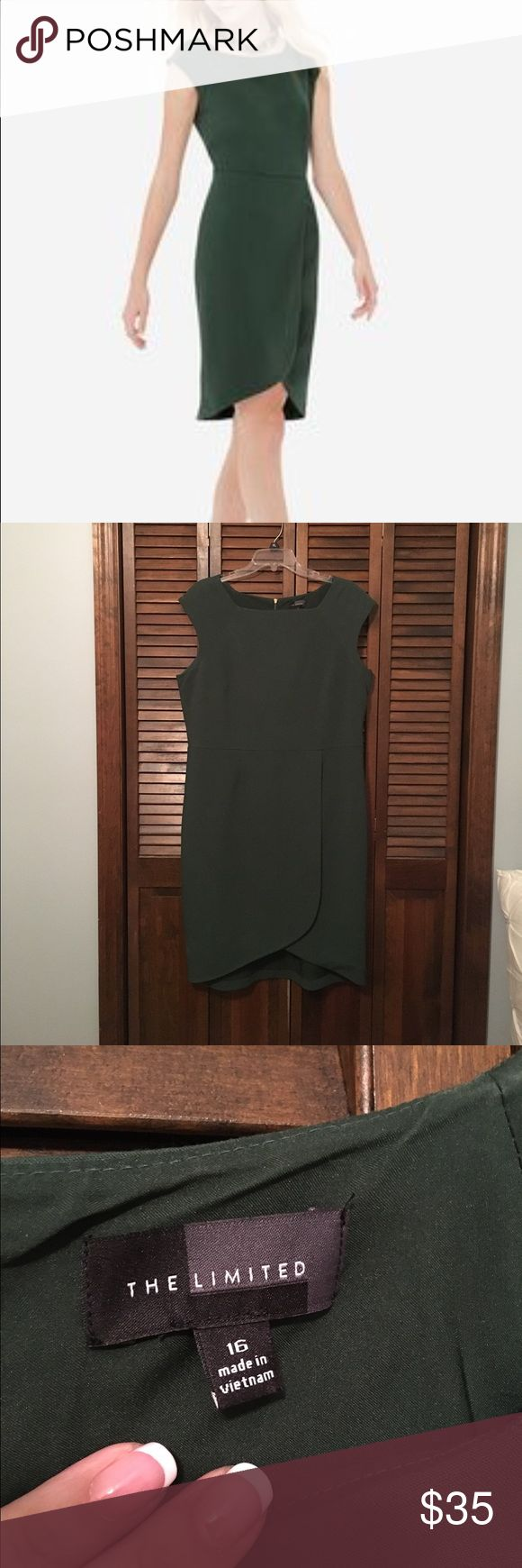 The Limited Tulip Skirt Sheath Dress - Size 16 The Limited Tulip Skirt Sheath Dress in dark green. Size 16. Perfect for the office! Beautiful tailored look. The thick fabric smoothes any wrinkles and hangs perfectly. Gold zippered detail in the back. The Limited Dresses