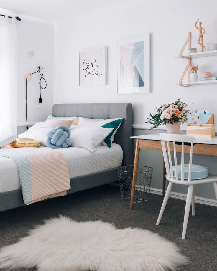 a warm pastel scandinavian style bedroom - Pictures Of Bedroom Decorations