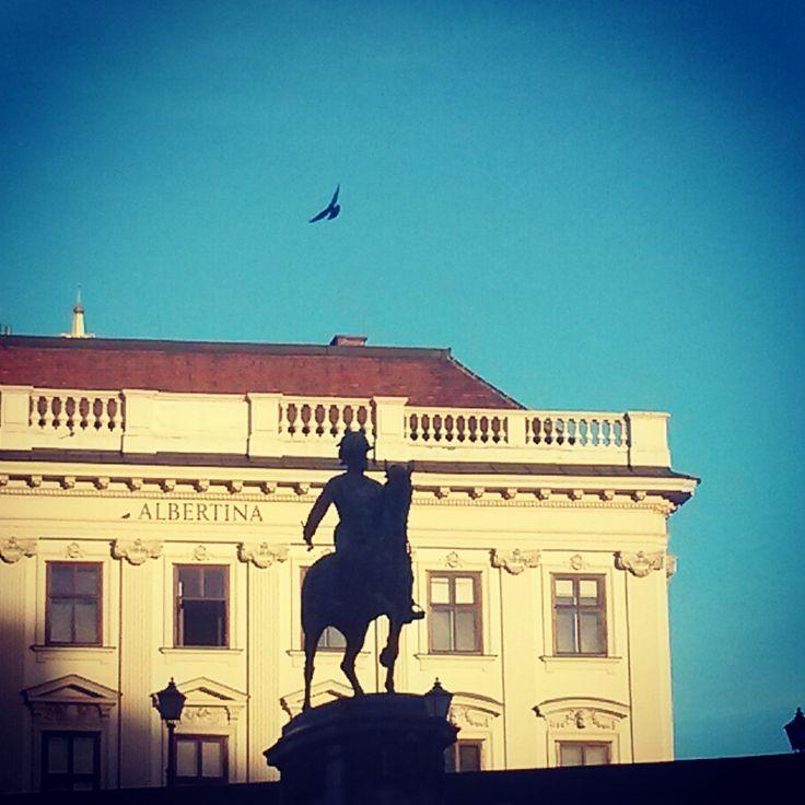 #Albertina #Wien #bluesky #Statue #horse #reiter #bird #free #Palais #Museum #building #architecture #art #Kunst #vienna #sightseeing