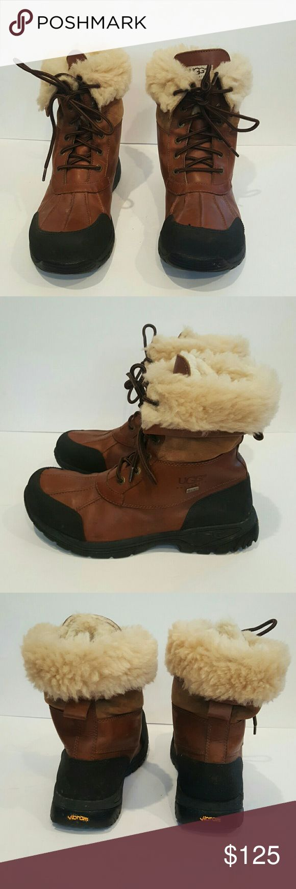 UGG FOR MEN BUTTE SIZE 11 GREAT SHAPE UGG FOR MEN SIZE 11 BROWN LEATHER WINTER BOOTS WATERPROOF VIBRAM EVENT GREAT SHAPE UGG Shoes Rain & Snow Boots
