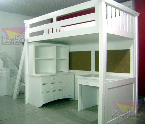 cama alta con escalera inclinada de camas y literas infantiles kids world