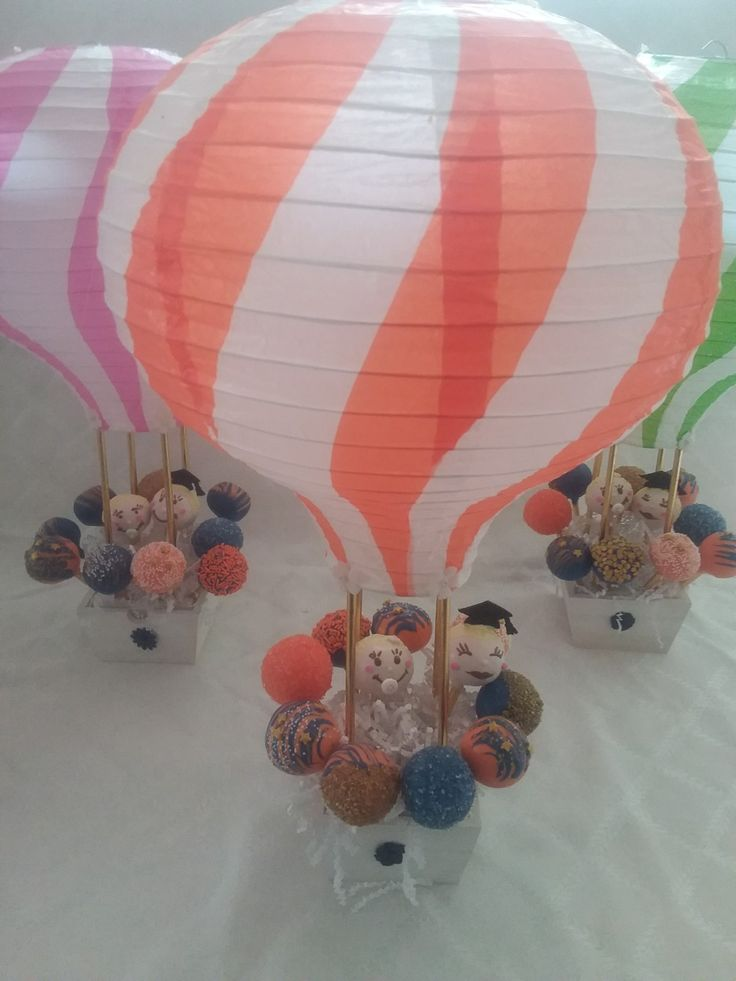 Hot air balloon centerpieces for graduation and birthday party