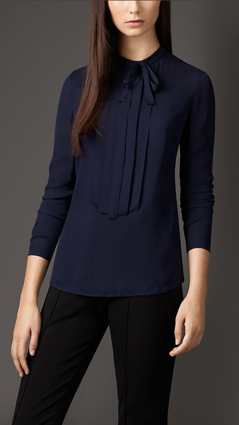 Pleat and Bow Silk Tunic Shirt   Burberry London
