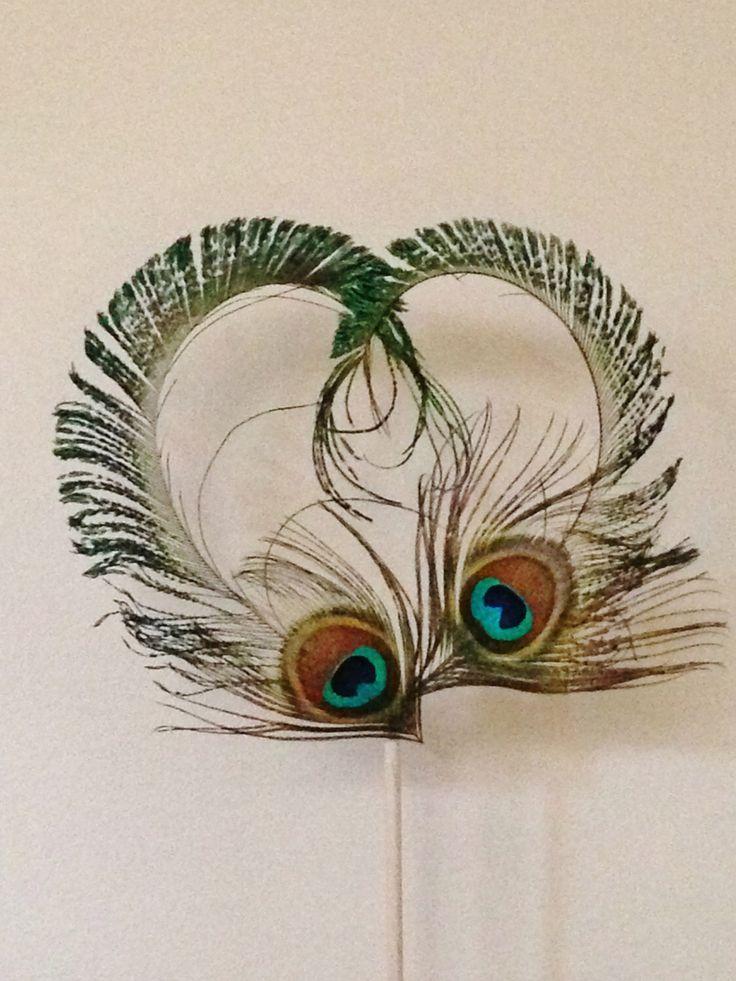 Peacock Feather Heart Cake Topper, Peacock Wedding ...